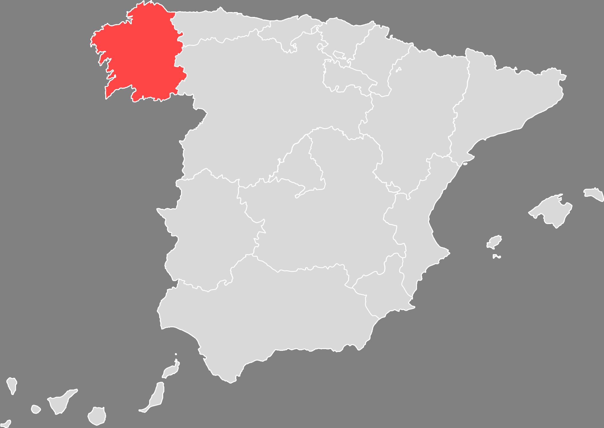 Mapa de A Coruña, Galicia, España